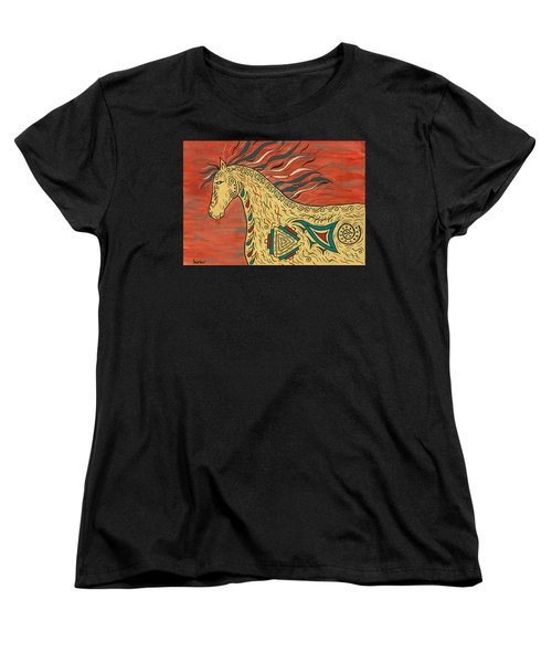 Women's T-Shirt (Standard Cut) featuring the painting Tribal Spirit Horse by Susie WEBER