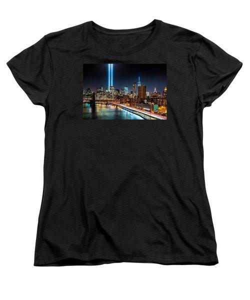 Tribute In Light Memorial Women's T-Shirt (Standard Cut) by Mihai Andritoiu