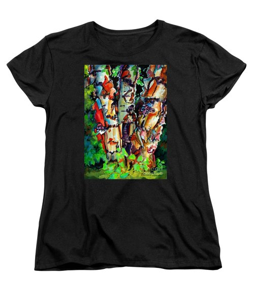 Women's T-Shirt (Standard Cut) featuring the painting Trio Birch 2014 by Kathy Braud