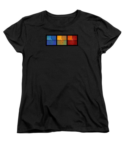 Triptych Blue Green Red - Colorful Rust Women's T-Shirt (Standard Cut) by Menega Sabidussi