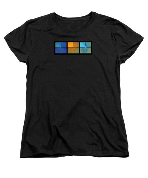 Triptych Blue Orange Cyan - Colorful Rust Women's T-Shirt (Standard Cut) by Menega Sabidussi