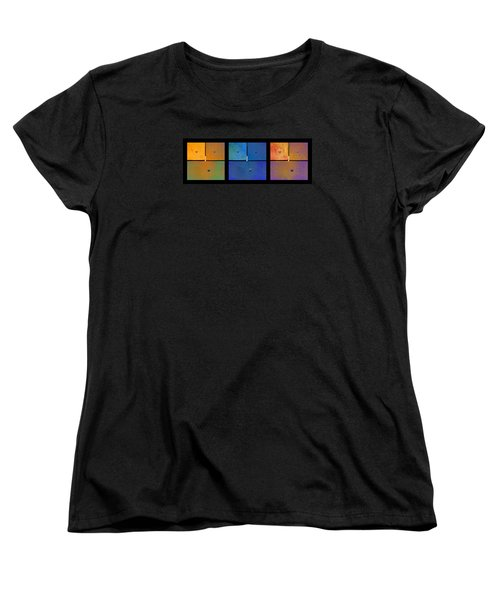 Triptych Orange Blue Gold - Colorful Rust Women's T-Shirt (Standard Cut) by Menega Sabidussi
