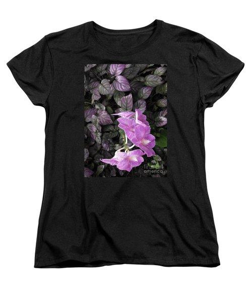 Tropical Orchids Women's T-Shirt (Standard Cut) by Ellen Cotton