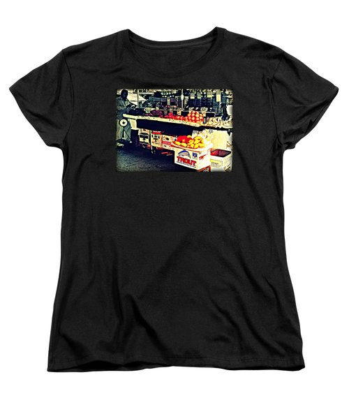 Women's T-Shirt (Standard Cut) featuring the photograph Vintage Outdoor Fruit And Vegetable Stand - Markets Of New York City by Miriam Danar