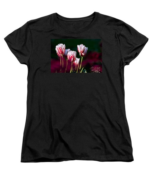 Women's T-Shirt (Standard Cut) featuring the photograph Tulips Garden Flowers Color Spring Nature by Paul Fearn