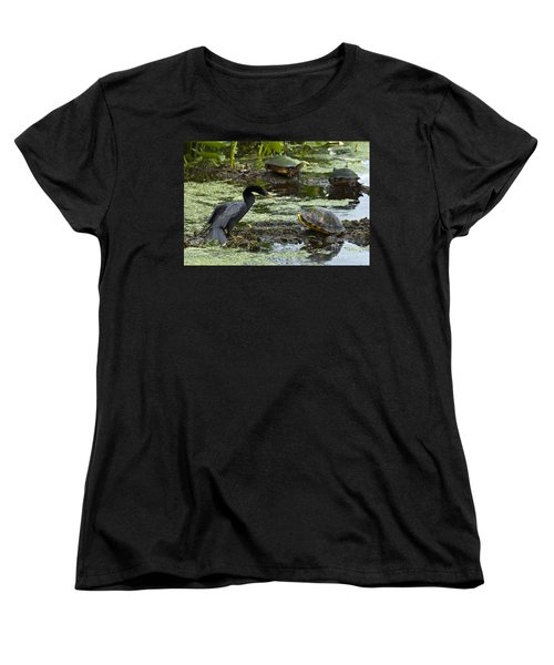 Turtles And Anhinga Women's T-Shirt (Standard Cut) by Mark Newman