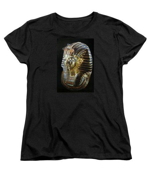Women's T-Shirt (Standard Cut) featuring the painting Tutankamon's Golden Mask by Leena Pekkalainen