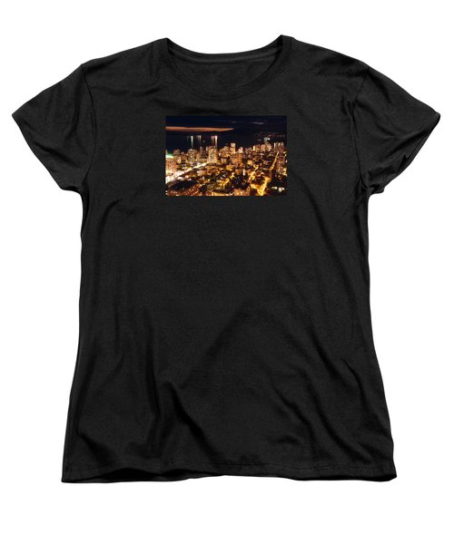 Women's T-Shirt (Standard Cut) featuring the photograph Twilight English Bay Vancouver Mdlxvii by Amyn Nasser