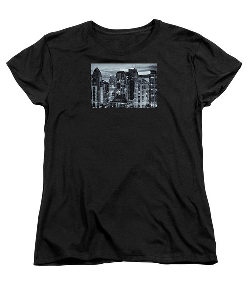Women's T-Shirt (Standard Cut) featuring the photograph Twilight On Cityscape Of Vancouver Overlooking English Bay - Greeting Card by Amyn Nasser