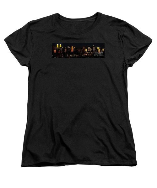 Women's T-Shirt (Standard Cut) featuring the photograph Twilight Reflections On New York City by Lilliana Mendez