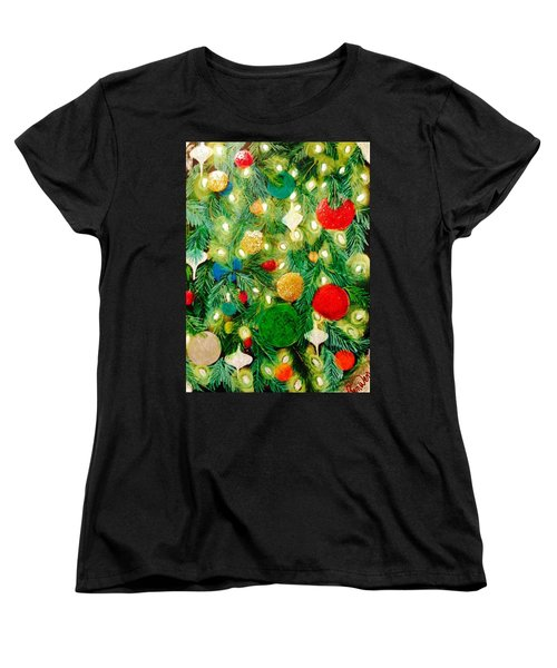 Twinkling Christmas Tree Women's T-Shirt (Standard Cut) by Renee Michelle Wenker