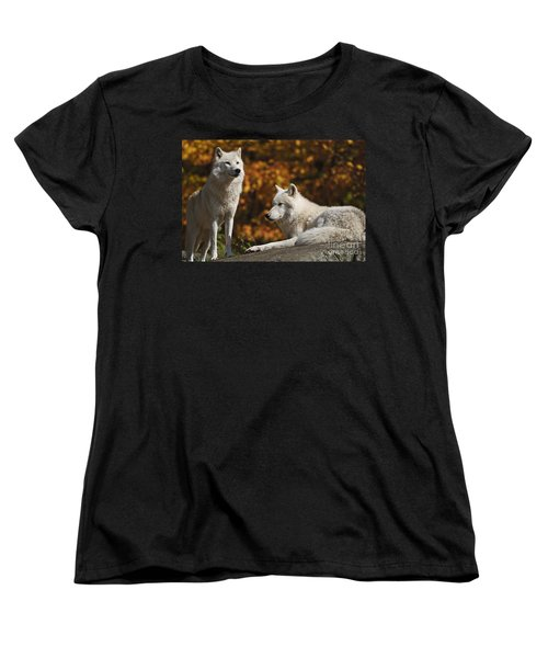 Women's T-Shirt (Standard Cut) featuring the photograph Two Arctic Wolves On Rock Hill by Wolves Only