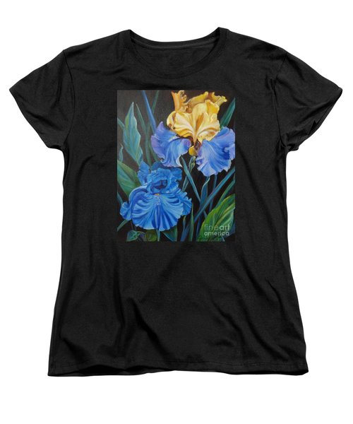 Women's T-Shirt (Standard Cut) featuring the painting Two Fancy Iris by Jenny Lee