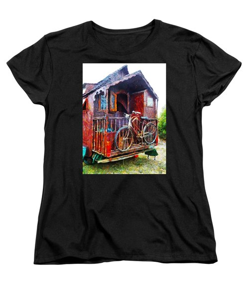 Two Wheels On My Wagon Women's T-Shirt (Standard Cut) by Steve Taylor
