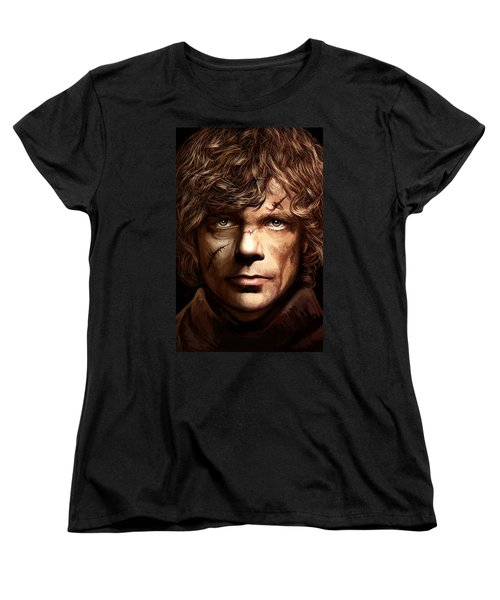 Women's T-Shirt (Standard Cut) featuring the painting Tyrion Lannister - Peter Dinklage Game Of Thrones Artwork 2 by Sheraz A