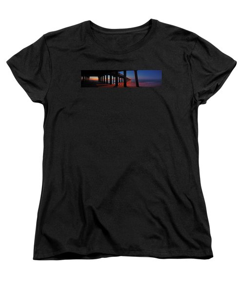 Women's T-Shirt (Standard Cut) featuring the digital art Under The Gulf State Pier  by Michael Thomas