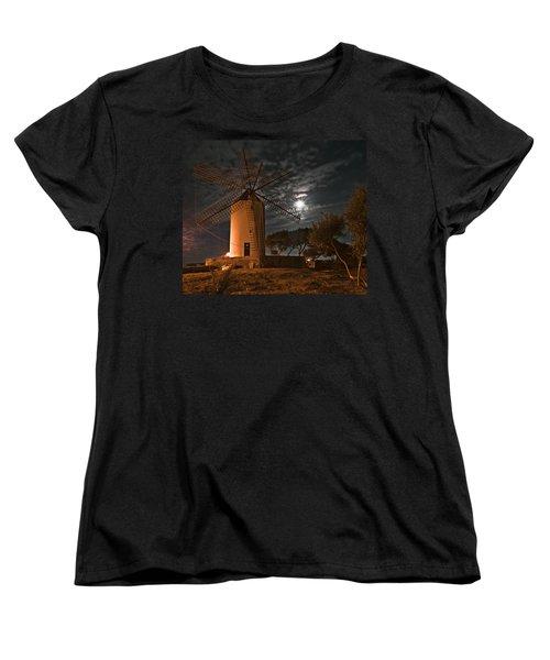 Vintage Windmill In Es Castell Villacarlos George Town In Minorca -  Under The Moonlight Women's T-Shirt (Standard Cut) by Pedro Cardona