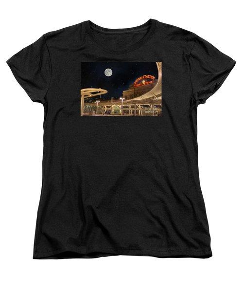 Union Station Denver Under A Full Moon Women's T-Shirt (Standard Cut) by Juli Scalzi