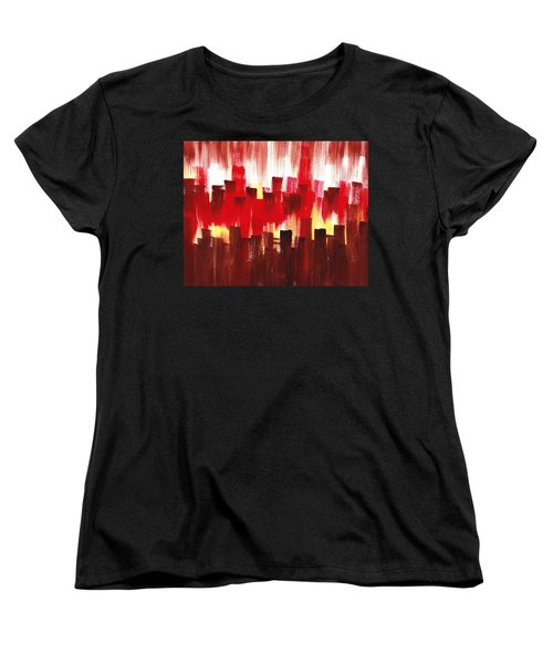 Women's T-Shirt (Standard Cut) featuring the painting Urban Abstract Evening Lights by Irina Sztukowski