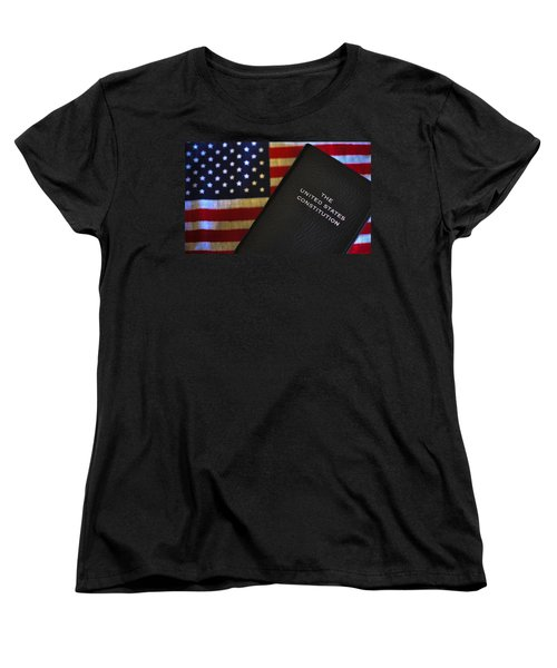 United States Constitution And Flag Women's T-Shirt (Standard Cut) by Ron White