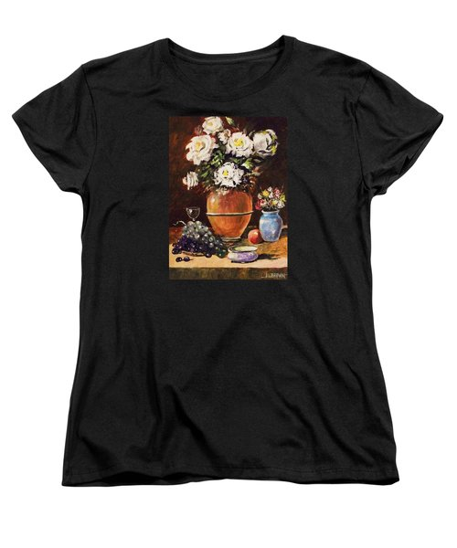 Women's T-Shirt (Standard Cut) featuring the painting Vase Of Flowers And Fruit by Al Brown