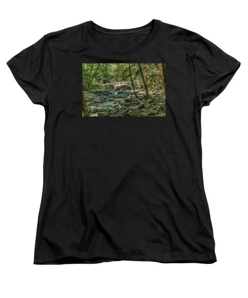 Women's T-Shirt (Standard Cut) featuring the photograph Vaughan Woods Bridge by Jane Luxton