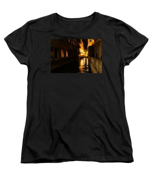 Women's T-Shirt (Standard Cut) featuring the photograph Venetian Golden Glow by Georgia Mizuleva