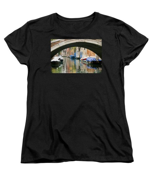 Women's T-Shirt (Standard Cut) featuring the photograph Venice Canal Boat by Silvia Bruno