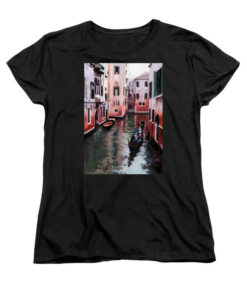 Women's T-Shirt (Standard Cut) featuring the painting Venice Gondola Ride by Janet King