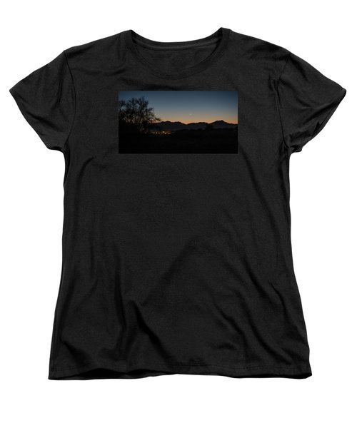 Women's T-Shirt (Standard Cut) featuring the photograph Venus And A Young Moon Over Tucson by Dan McManus
