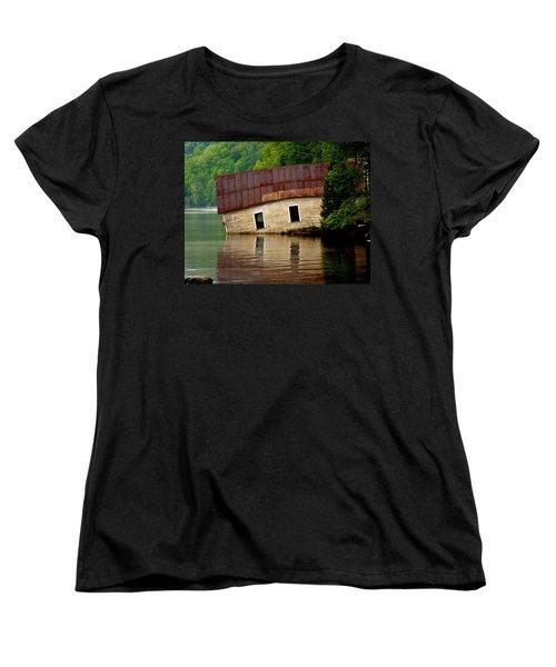 Women's T-Shirt (Standard Cut) featuring the photograph Vermont Boathouse by John Haldane