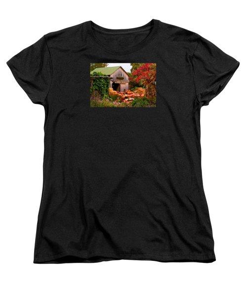 Women's T-Shirt (Standard Cut) featuring the photograph Vermont Pumpkins And Autumn Flowers by Jeff Folger
