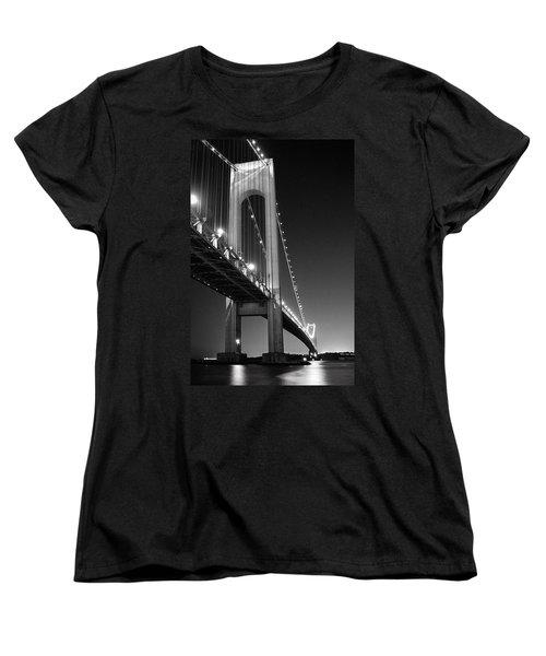 Verrazano Bridge At Night - Black And White Women's T-Shirt (Standard Cut)