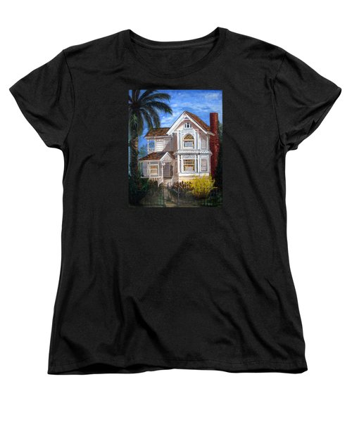 Women's T-Shirt (Standard Cut) featuring the painting Victorian House by LaVonne Hand