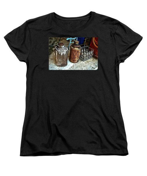 Women's T-Shirt (Standard Cut) featuring the photograph Hdr Vintage Art  Cans And Bottles by Lesa Fine