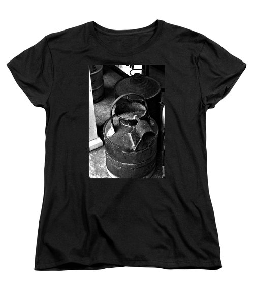Women's T-Shirt (Standard Cut) featuring the photograph Vintage B/w Galvanized Container by Lesa Fine