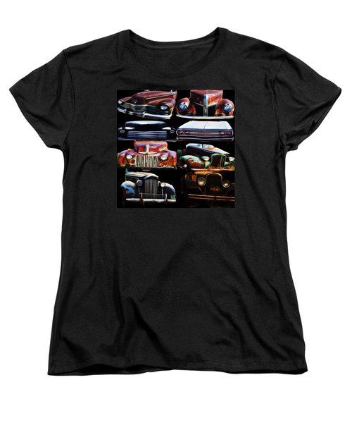 Vintage Cars Collage 2 Women's T-Shirt (Standard Cut) by Cathy Anderson