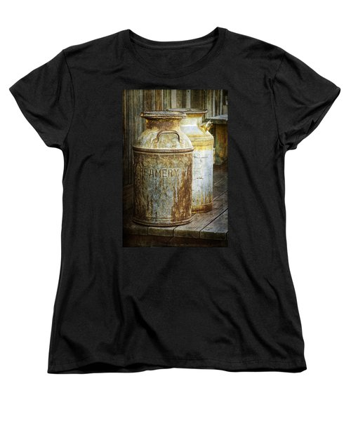 Vintage Creamery Cans In 1880 Town In South Dakota Women's T-Shirt (Standard Cut)