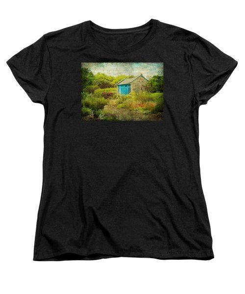 Vintage Inspired Garden Shed With Blue Door Women's T-Shirt (Standard Cut) by Brooke T Ryan