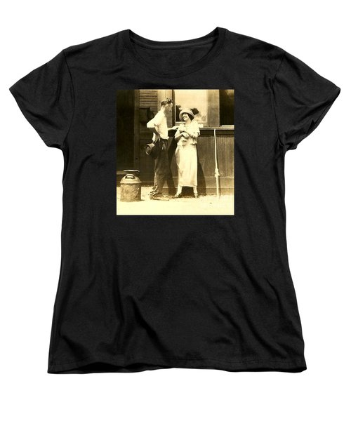 Women's T-Shirt (Standard Cut) featuring the photograph Vintage Love In Memory Of My Deceased Grandfather From Ireland I Never New by Michael Hoard