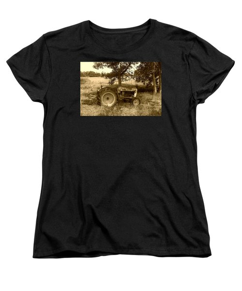Women's T-Shirt (Standard Cut) featuring the photograph Vintage Tractor In Sepia by Cynthia Lassiter