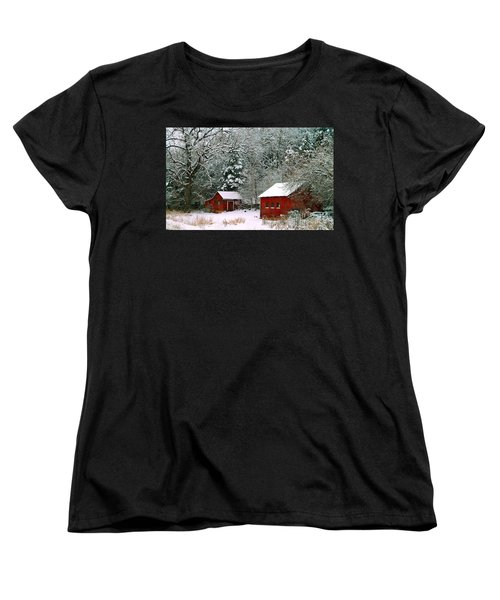 Women's T-Shirt (Standard Cut) featuring the photograph Vintage Winter Barn  by Peggy Franz