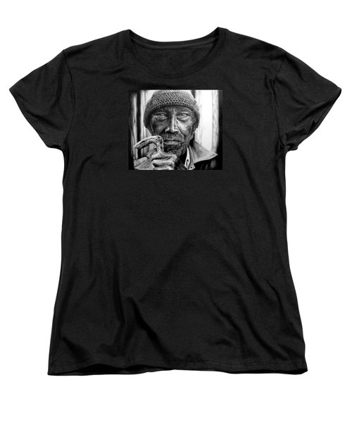 Women's T-Shirt (Standard Cut) featuring the drawing Man With Cane by Geni Gorani
