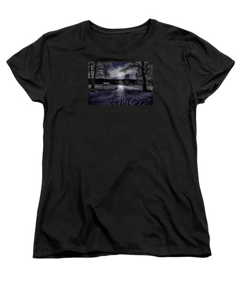 Women's T-Shirt (Standard Cut) featuring the photograph #walk-way In A Pinhole Presentation Over Dyarna A #winter #day Near City Enkoping Sweden January 201 by Leif Sohlman