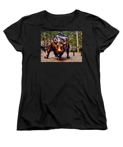 Wall Street Bull Women's T-Shirt (Standard Cut) by David Smith