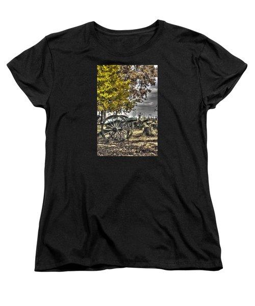 Women's T-Shirt (Standard Cut) featuring the photograph War Thunder - The Purcell Artillery Mc Graw's Battery-a2 West Confederate Ave Gettysburg by Michael Mazaika