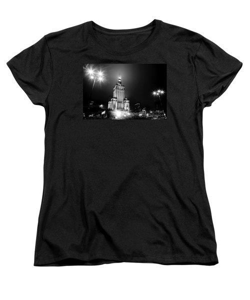 Warsaw Poland Downtown Skyline At Night Women's T-Shirt (Standard Cut) by Michal Bednarek