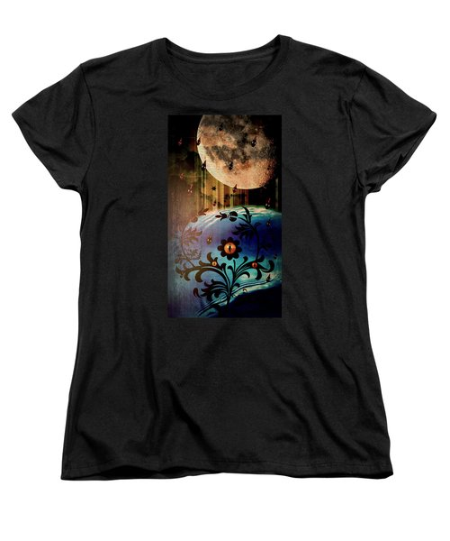Women's T-Shirt (Standard Cut) featuring the mixed media Watching by Ally  White