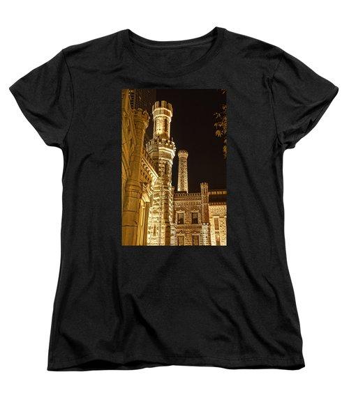 Water Tower At Night Women's T-Shirt (Standard Cut) by Daniel Sheldon