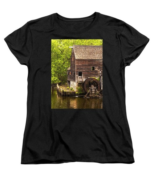 Women's T-Shirt (Standard Cut) featuring the photograph Water Wheel At Philipsburg Manor Mill House by Jerry Cowart